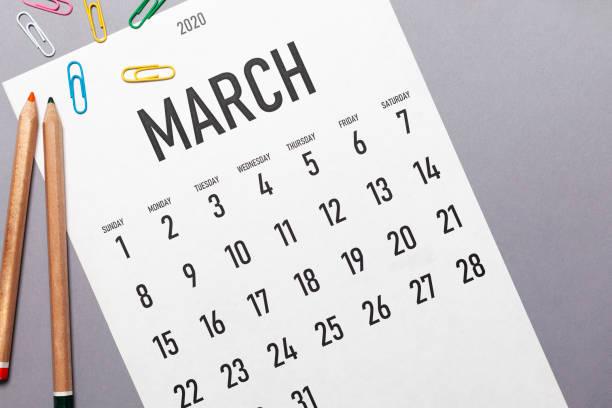 maart 2020 eenvoudige kalender - maart stockfoto's en -beelden