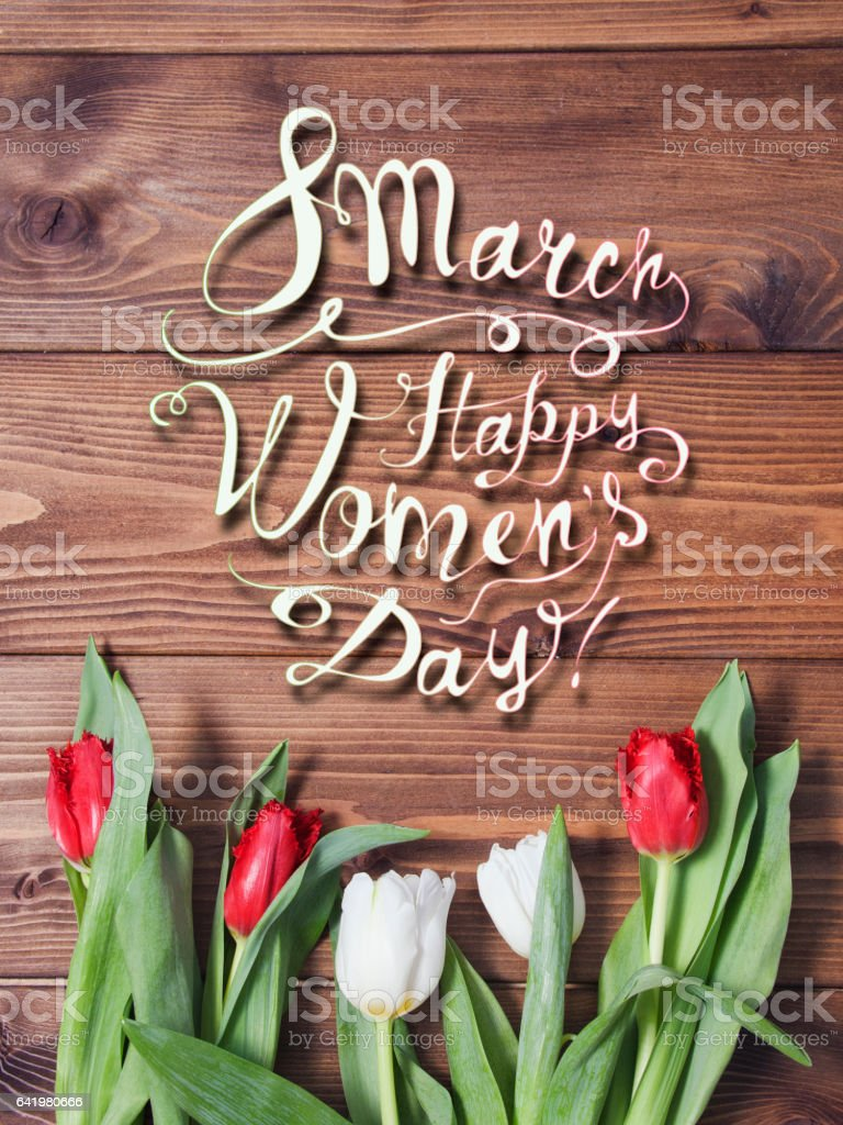 march 8. Happy woman's day! Tulip flowers stock photo