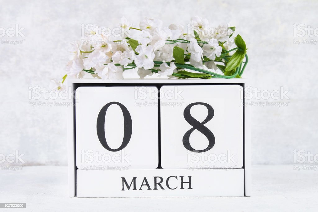 March 8 International Womens Day Wooden Perpetual Calendar And White