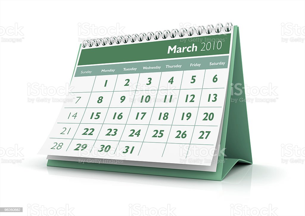 March. Calendar 2010 royalty-free stock photo