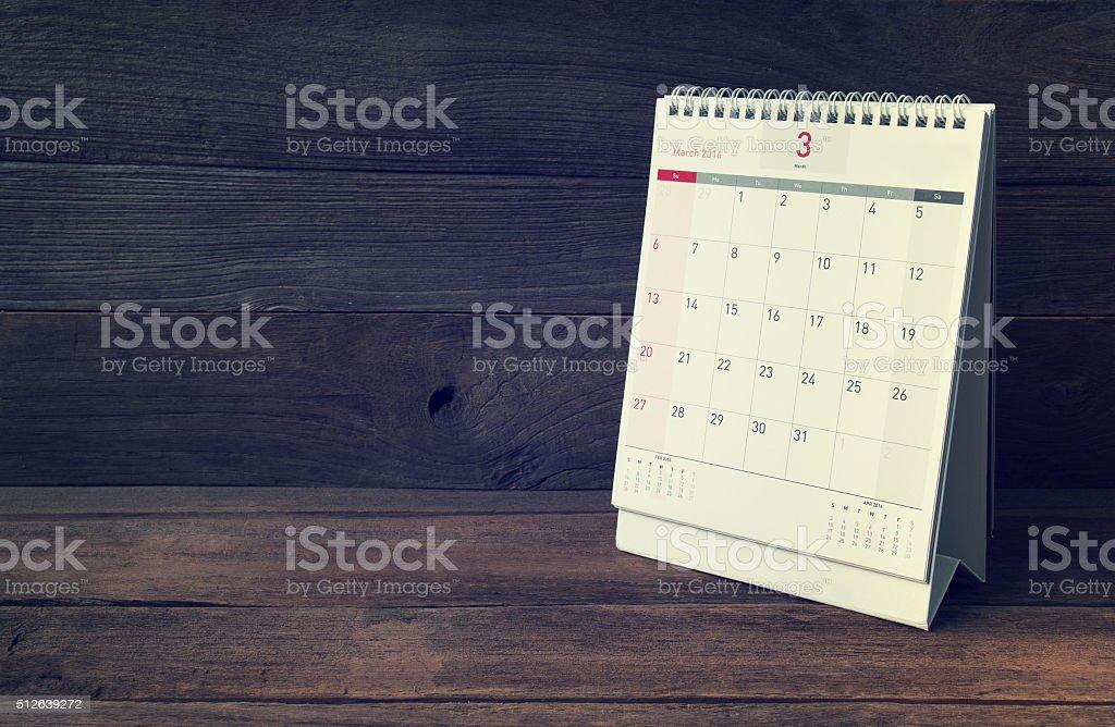 March Calendar 2016 stock photo