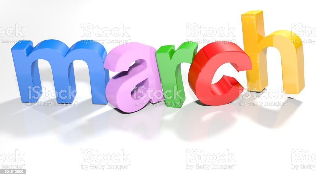 march colorful 3D write - 3D rendering stock photo