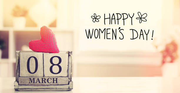 8 March Happy Women's Day message with calendar stock photo