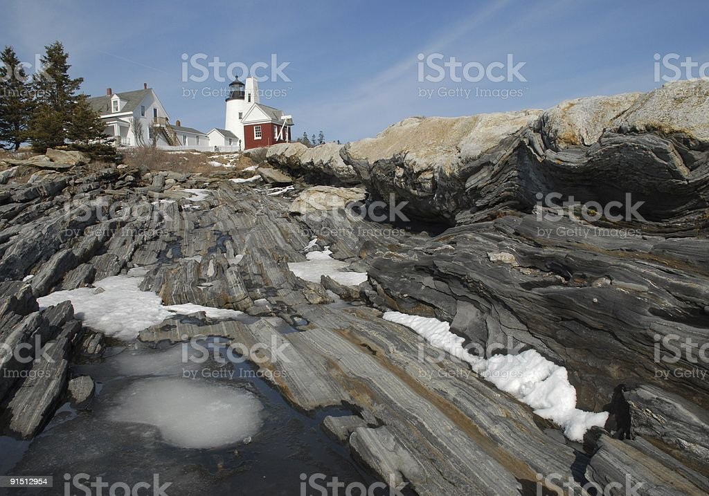 March ice at Pemaquid Point royalty-free stock photo