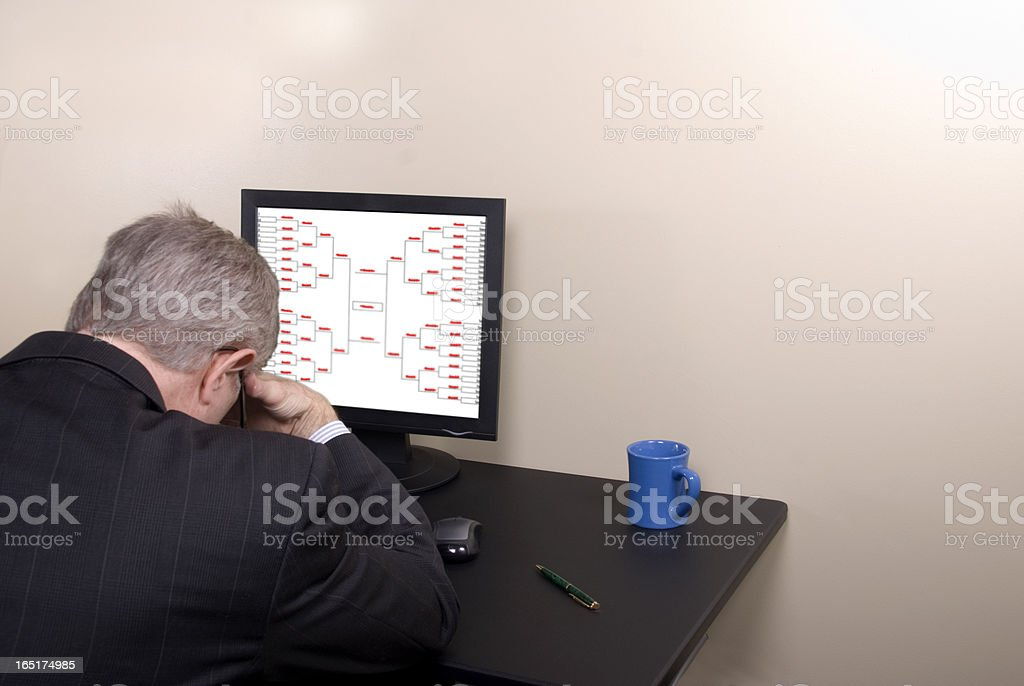 March Madness Businessman and Busted Bracket royalty-free stock photo