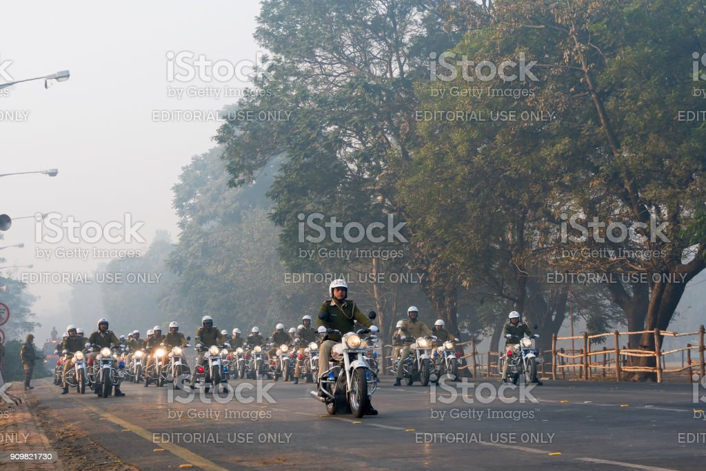 March past of Kolkata police - Motorbike rally royalty-free stock photo
