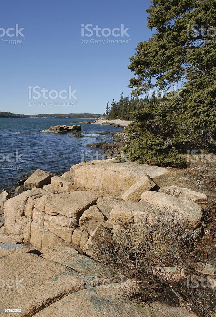March sunlight illuminates the western shore of Schoodic Point royalty-free stock photo