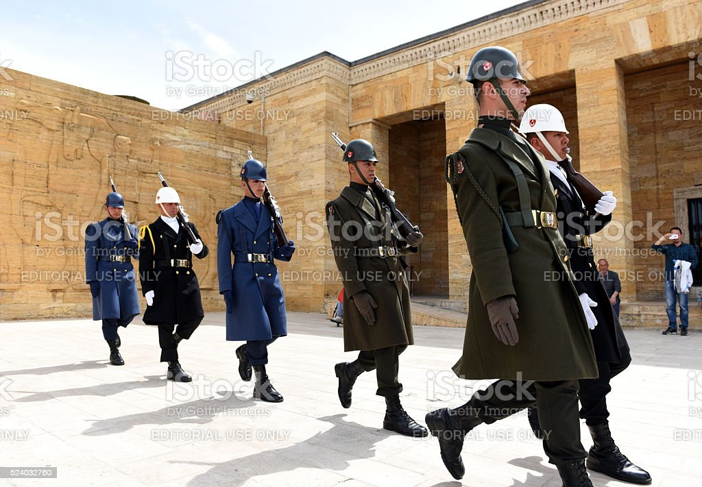 march - Turkish soldiers during ceremony in Anitkabir stock photo
