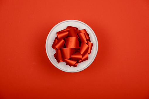 8 march woman's day concept. Top horizontal view copyspace. Festive concept gift box with ribbons  number 8.
