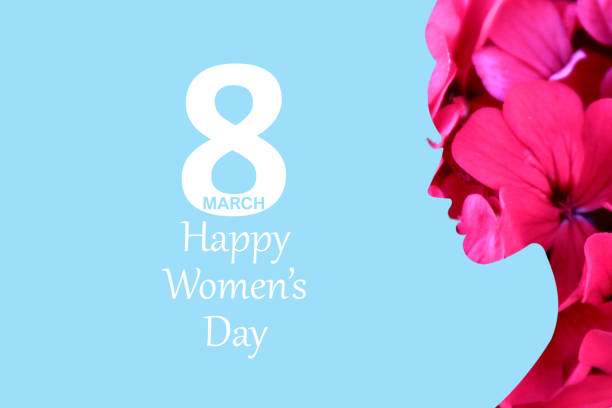 8 march women's day blue background and flowers 4 stock photo