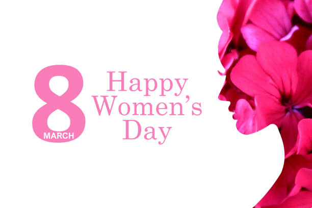 8 march women's day white background and flowers stock photo