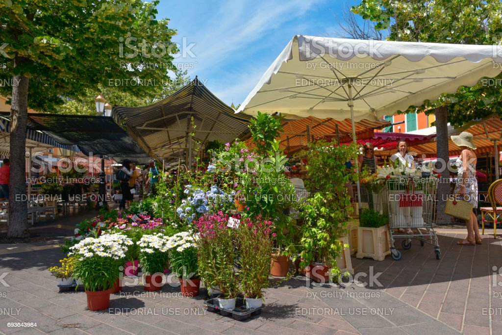 Marche aux Fleurs in Nice, France stock photo