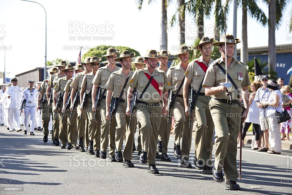 Marching Australian Soldiers on Anzac Day stock photo