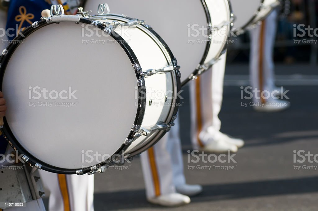 Marching band drums and legs stock photo
