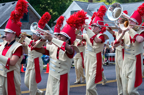 Marching Band Fills Streets in Mendota stock photo
