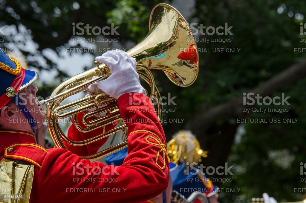 Marching band horn player stock photo