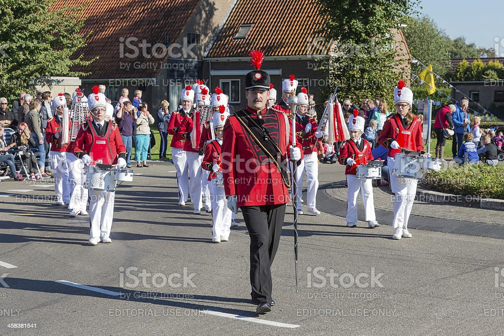 Marching band in a Dutch countryside parade royalty-free stock photo