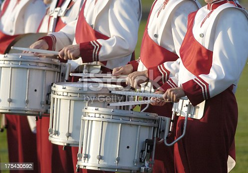American high school marching band drum section.