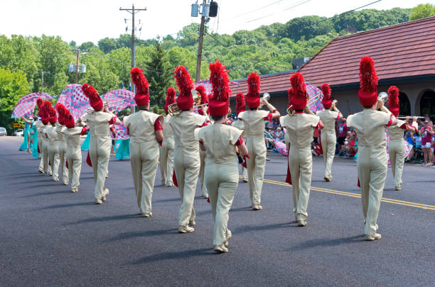 Marching Band Plays to Crowds in Mendota stock photo