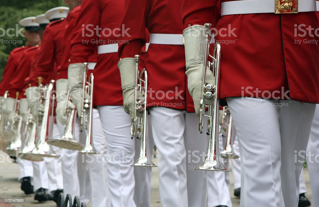 Marching Band Trumpets stock photo