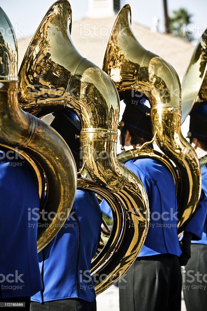 marching band with tubas (close up) stock photo