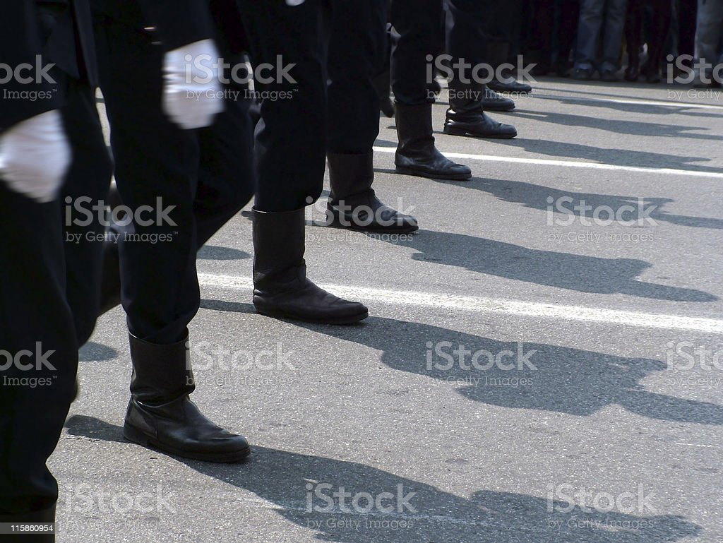 Marching boots stock photo