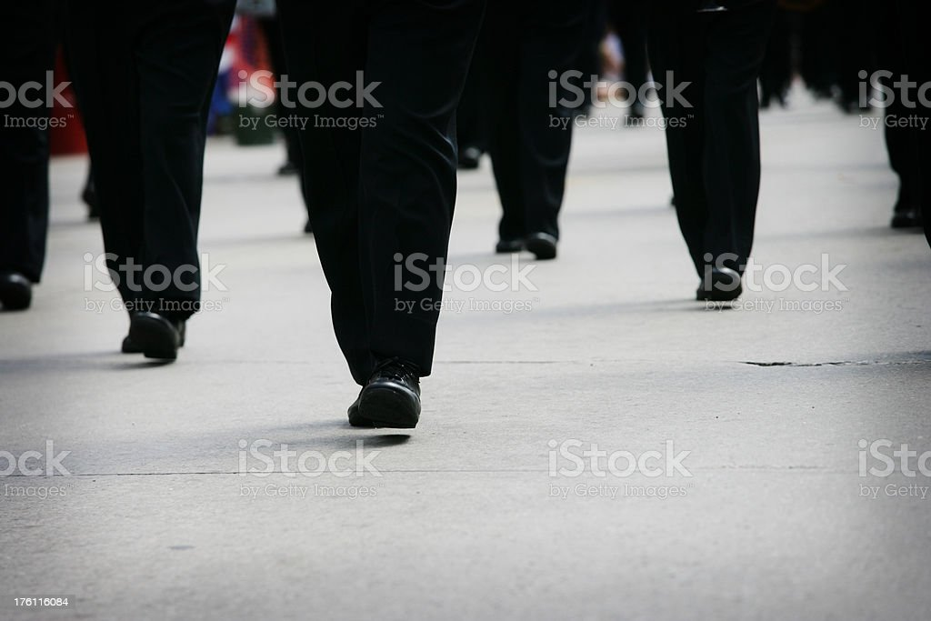 Marching Feet in Synchronization stock photo