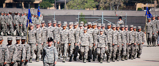 Marching in Formation at Air Force BMT Coin Ceremony stock photo