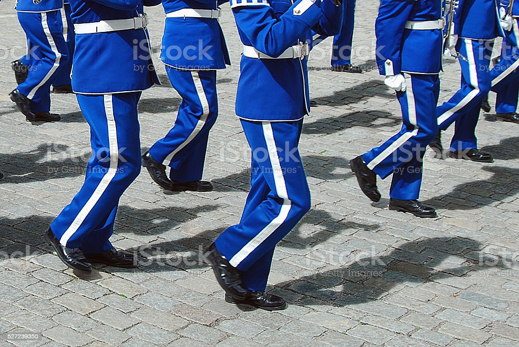 Marching music band in blue stock photo