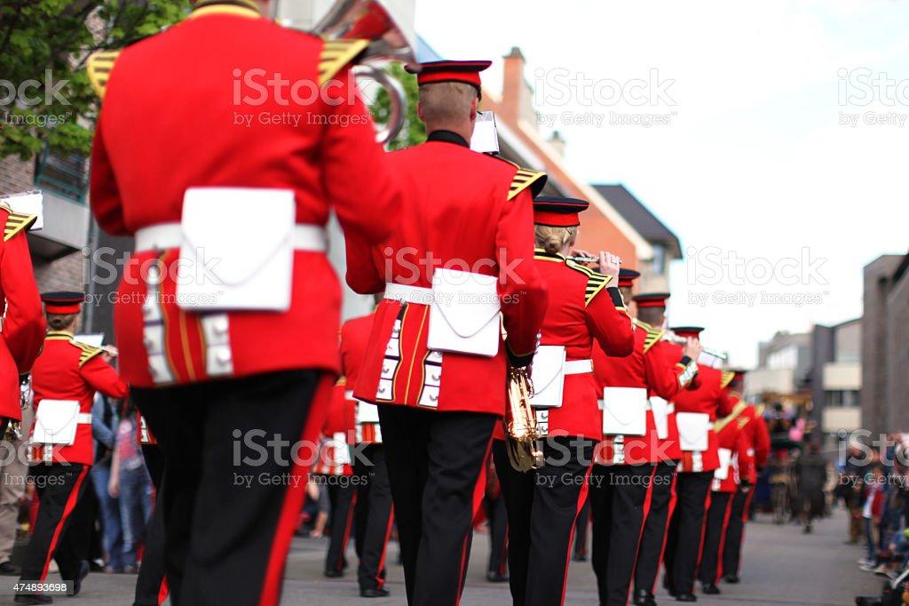 Marching Musical Band at May Day Parade in Genk Belgium stock photo