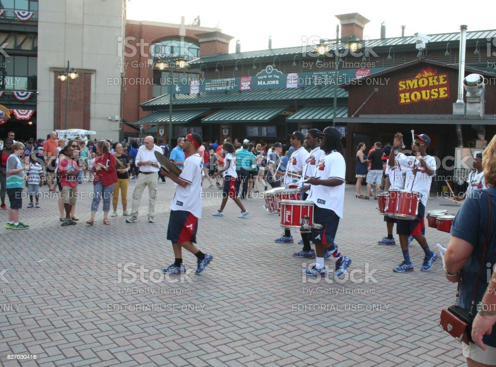 Marching percussion band at Atlanta Braves Game stock photo