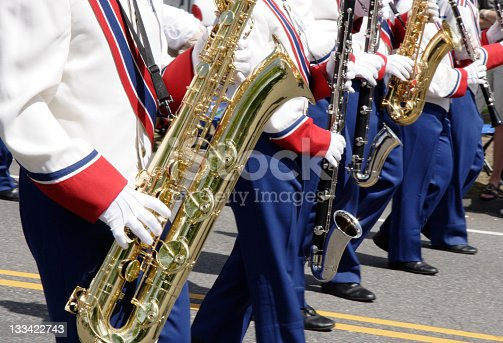 Chicago, Illinois, USA - August 8, 2019: The Bud Billiken Parade, Members of the King High School Marching Band, performing at the parade
