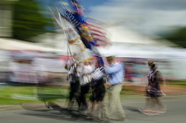 Marching Veterans stock photo