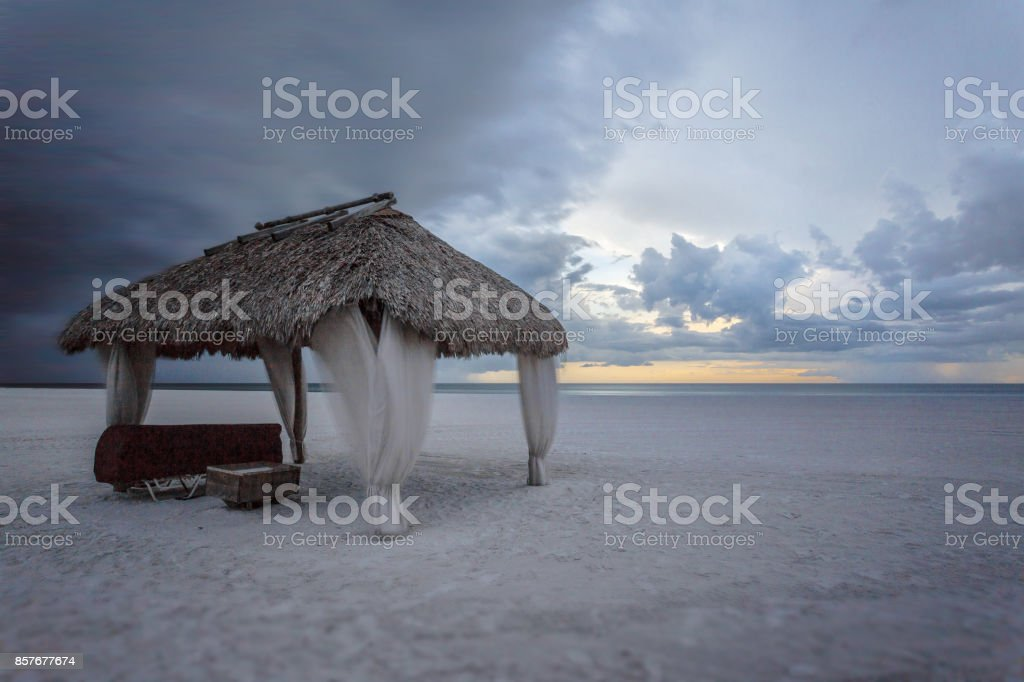 Marco Island beach before the storm and hurricane, south Florida, USA. stock photo