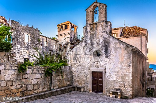 View at famous landmark - birth house of Marco Polo, in old ancient town Korcula, Croatia. Photo is taken outside protected area (exterior view).