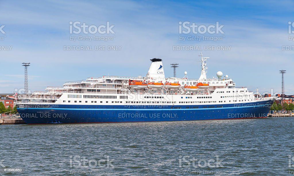 MS Marco Polo cruise ship stands moored in port of Helsinki in summer...