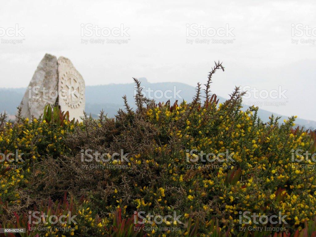 Marco rotário no cabo da roca stock photo