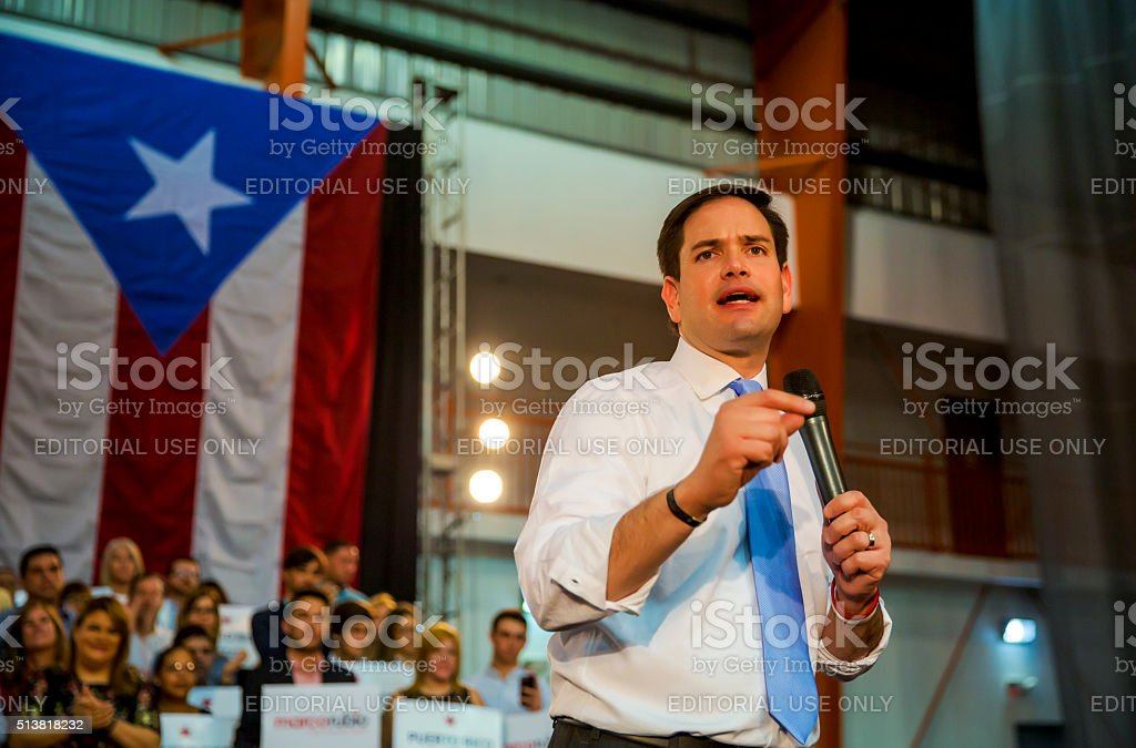 Marco Rubio, U.S. Senator and Republican presidential candidate Toa Baja, Puerto Rico - March 5, 2016:  U.S. Senator  and Republican presidential candidate, Marco Rubio, speaks about Puerto Rico's debt crisis as he addresses a crowd of his supporters at a rally on the eve of the island's Republican primary. Debt Stock Photo