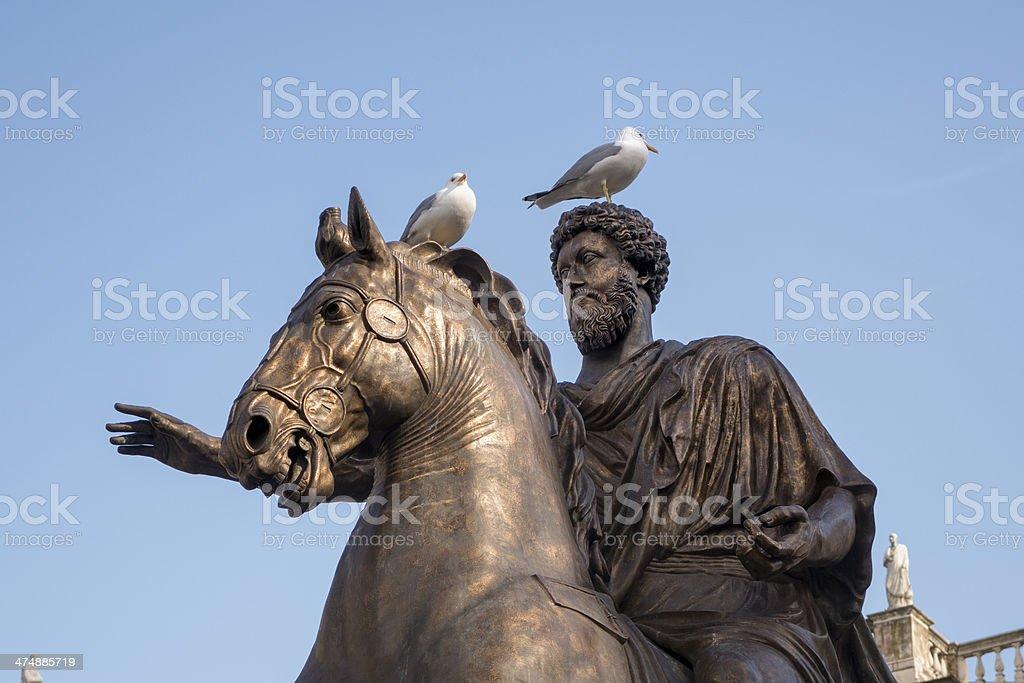 Marcus Aurelius on Capitoline Hill in Rome, Italy stock photo