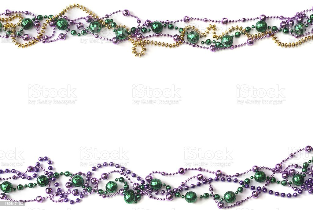 Mardi Gras Bead Border stock photo