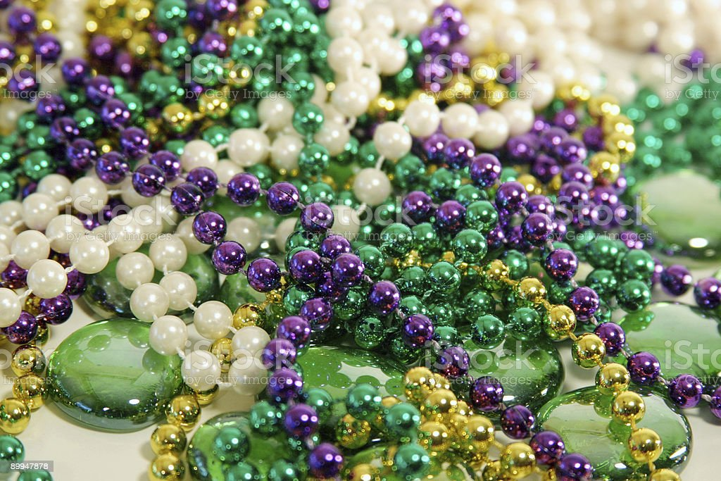 Mardi Gras beads 4 stock photo