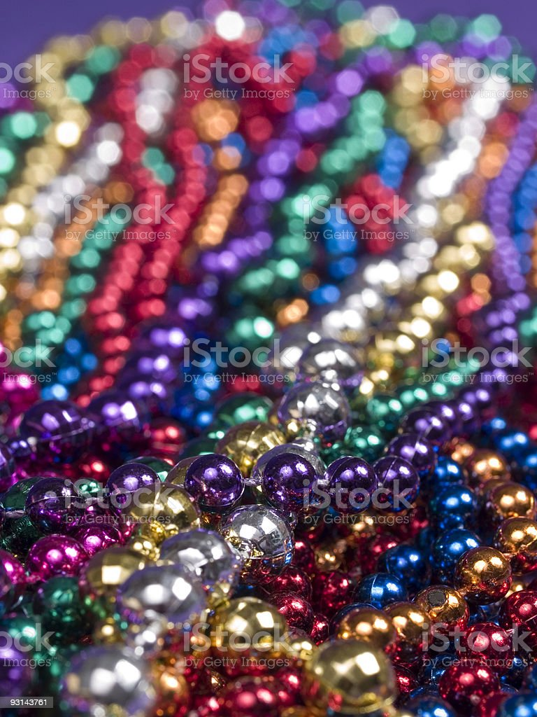 Mardi Gras Beads Closeup royalty-free stock photo