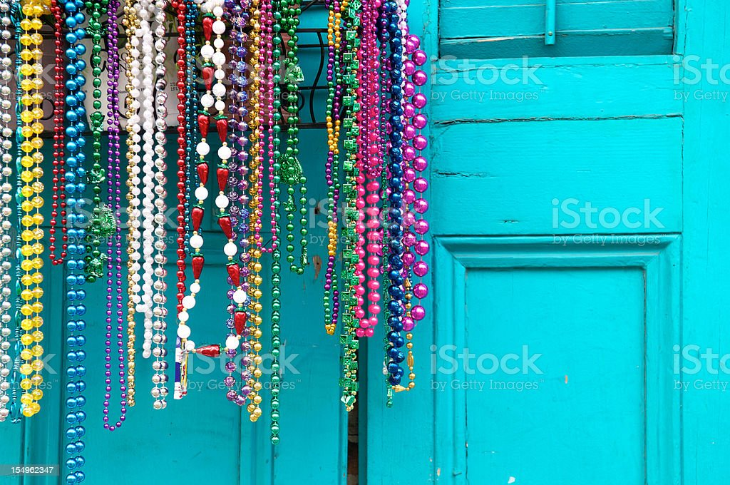 Mardi Gras Beads in New Orleans royalty-free stock photo