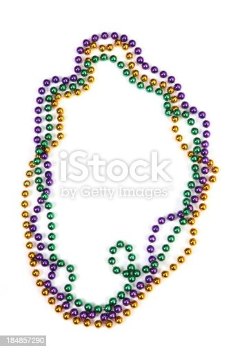 Mardi Gras beads isolated on white