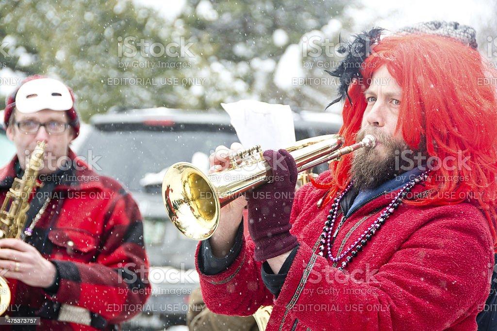 Mardi Gras brass band in Maple Corner, Vermont royalty-free stock photo
