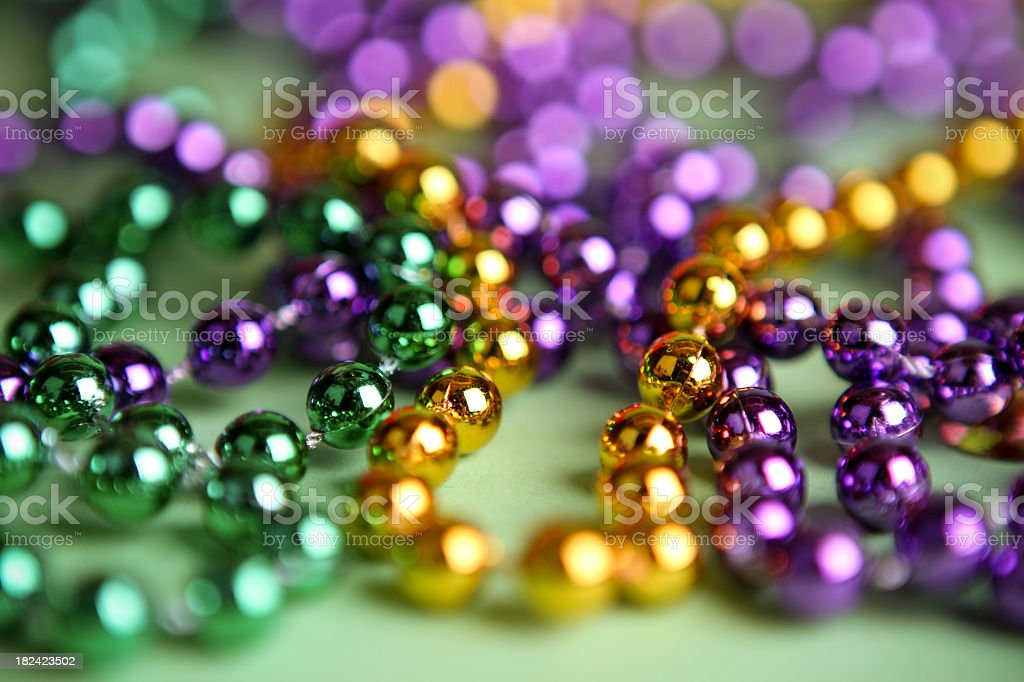 Mardi Gras bright colorful beads stock photo