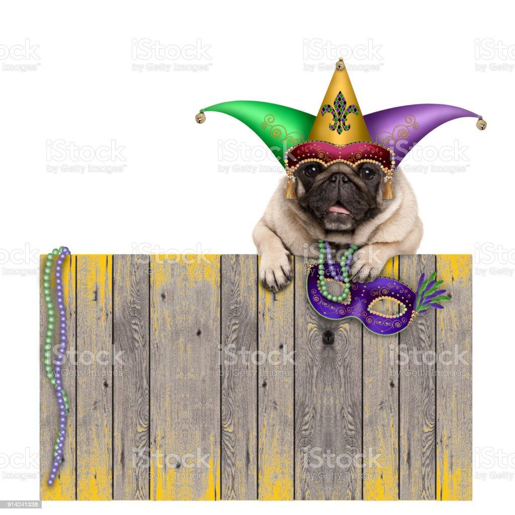 Mardi gras carnaval pug dog met harlequin jester hoed en Venetiaanse masker opknoping op houten hek foto