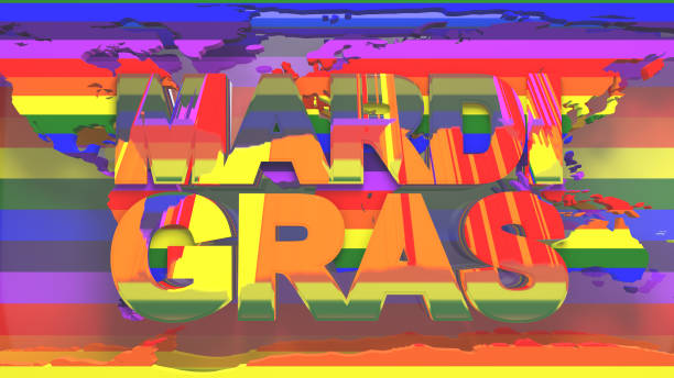 Mardi Gras Gay Pride LGBT Community graphic title 3D render LGBTQIA+ Community Gay Pride LGBT Mardi Gras graphic title 3D render. The letters LGBT & LGBTQIA refer to lesbian, gay, bisexual, transgender, queer or questioning, intersex, and asexual or allied. cisgender stock pictures, royalty-free photos & images
