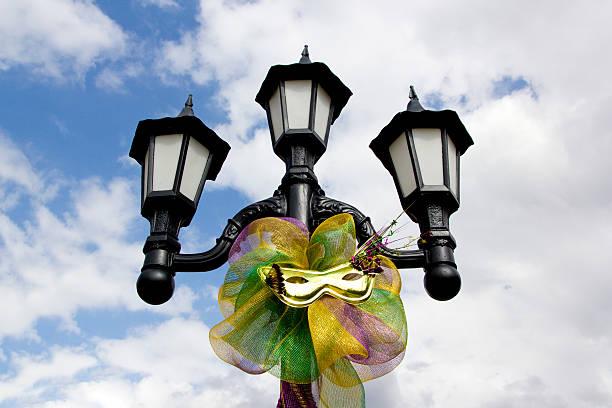 Mardi Gras Lamp Post stock photo