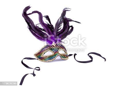 A Mardi Gras mask on white.